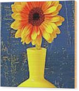 Yellow Mum In Yellow Vase Wood Print