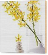 Yellow Orchid Bunchs Wood Print by Atiketta Sangasaeng