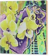 Yellow Orchids Of The Heart Wood Print