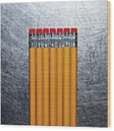 Yellow Pencils With Erasers On Stainless Steel. Wood Print