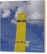 Yellow Post Wood Print by Bernard Jaubert