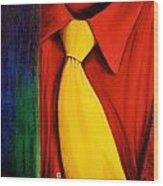 Yellow Silk Tie Wood Print