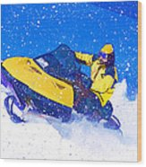 Yellow Snowmobile In Blizzard Wood Print