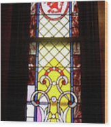Yellow Stained Glass Window Wood Print