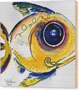 Yellow Study Fish Wood Print