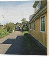 Yellow Summer House Wood Print