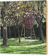 Yellow Swingset Wood Print