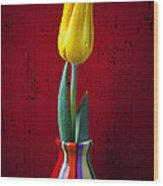 Yellow Tulip In Colorfdul Vase Wood Print by Garry Gay