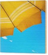 Yellow Umbrella With Sea And Sailboat Wood Print