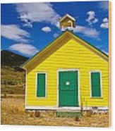 Yellow Western School House Wood Print