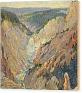 Yellowstone Falls And Hoodoos Wood Print
