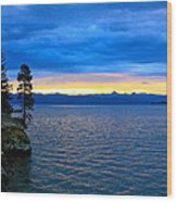 Yellowstone Lake Sunrise Wood Print