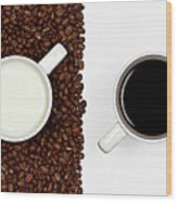 Yin And Yang Coffee And Milk Wood Print by Gert Lavsen Photography