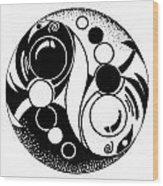 Yin And Yang Fish Design Wood Print