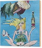 Yoga Girl With Cock - Bottle Of Wine And Egg Wood Print