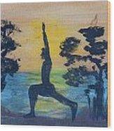 Yoga High Lunge Pose  Wood Print