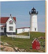 York Harbor  Nubble Lighthouse Wood Print