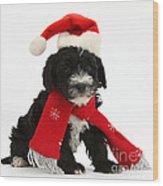 Yorkipoo Pup Wearing Christmas Hat Wood Print