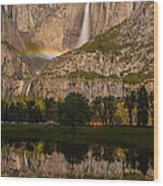 Yosemite Falls Moonbow Reflection Wood Print