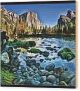 Yosemite Rocks In River Wood Print