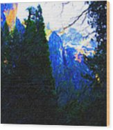 Yosemite Snow Mountain Tops . Vertical Cut Wood Print by Wingsdomain Art and Photography