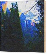 Yosemite Snow Mountain Tops . Vertical Cut Wood Print