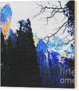 Yosemite Snow Top Mountains Wood Print
