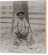 Young African American Sitting Wood Print
