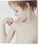 Young Boy Scratching His Eczema Wood Print by Ian Boddy