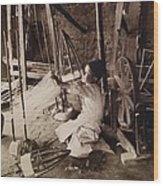 Young Boy Unwinding Silk Cocoons Wood Print by Everett