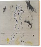 Young Female Nude In Agony While Running From Her Thoughts In Blue Yellow Black Serigraph Monoprint Wood Print