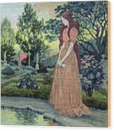 Young Girl In A Garden  Wood Print