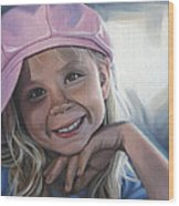 Young Girl In Pink Hat Wood Print