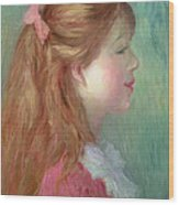 Young Girl With Long Hair In Profile Wood Print