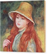 Young Girl With Long Hair Wood Print