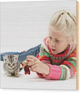 Young Girl With Silver Tabby Kitten Wood Print