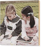 Young Girls Doodling Wood Print