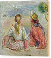 Young Girls On The Beach Wood Print