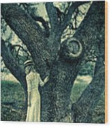 Young Lady In White By Tree Wood Print