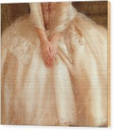 Young Lady Sitting In Satin Gown Wood Print