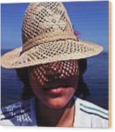 Young Lady With Straw Hat Wood Print