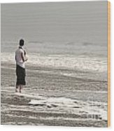 Young Man And The Pacific Ocean Wood Print