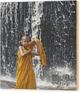 Young Monk In Front Of Waterfall Wood Print