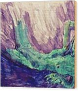 Young Statue Of Liberty Falling From Grace Female Figure Portrait Painting In Green Purple Blue Wood Print
