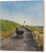 Young Woman And Baby Buggy On Dirt Road  Wood Print