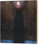 Young Woman In Black Lantern In Front Of Her Face Wood Print