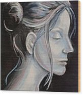 Young Woman In Profile-quick Self Study Wood Print