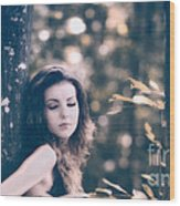 Young Woman In The Forest Wood Print by Gabriela Insuratelu