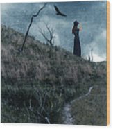 Young Woman On Creepy Path With Black Birds Overhead Wood Print