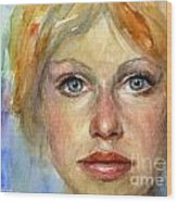 Young Woman Watercolor Portrait Painting Wood Print